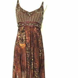 Vintage Sue Wong Beaded Cocktail Dress Brown 10